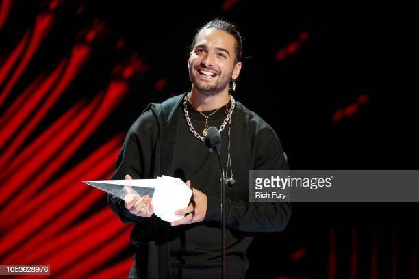 Maluma accepts the Extraordinary Evolution Award onstage during the 2018 Latin American Music Awards at Dolby Theatre on October 25 2018 in Hollywood...
