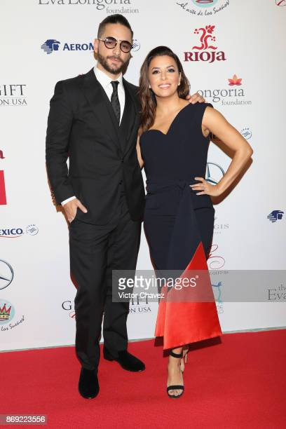 Maluma and Eva Longoria attend The Global Gift Gala Mexico 2017 at St Regis Hotel on November 1 2017 in Mexico City Mexico