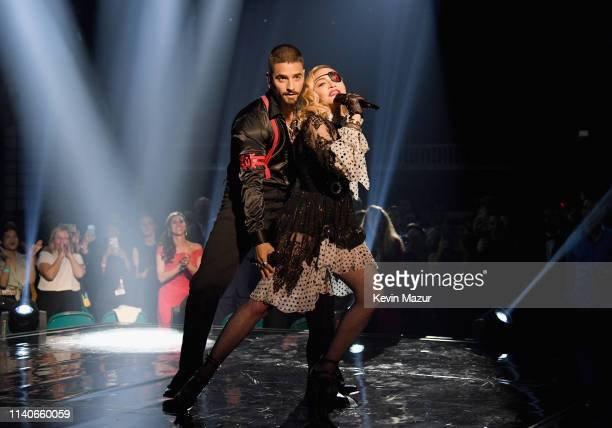 Maluma and Madonna perform onstage during the 2019 Billboard Music Awards at MGM Grand Garden Arena on May 1 2019 in Las Vegas Nevada