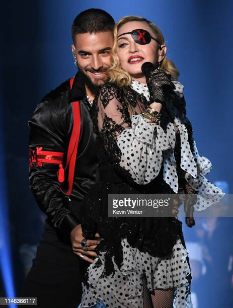 Maluma and Madonna perform onstage during the 2019 Billboard Music Awards at MGM Grand Garden Arena on May 01, 2019 in Las Vegas, Nevada.