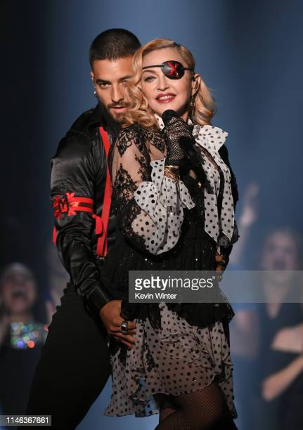 Maluma and Madonna perform onstage during the 2019 Billboard Music Awards at MGM Grand Garden Arena on May 01 2019 in Las Vegas Nevada