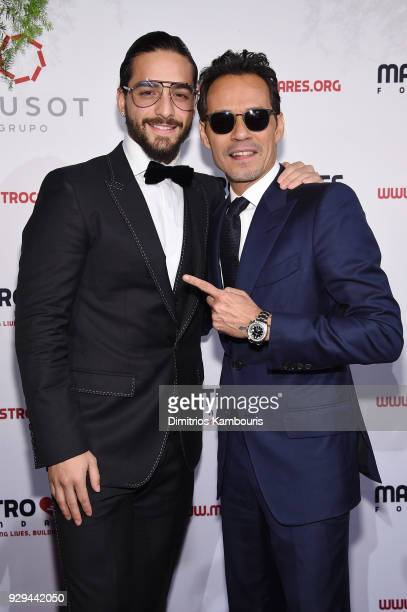 Maluma and Marc Anthony attend the Maestro Cares Third Annual Gala Dinner at Cipriani Wall Street on March 8 2018 in New York City
