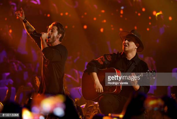 Maluma and Piso 21 perform on stage during Univision's 'Premios Juventud' 2017 Celebrates The Hottest Musical Artists And Young Latinos ChangeMakers...