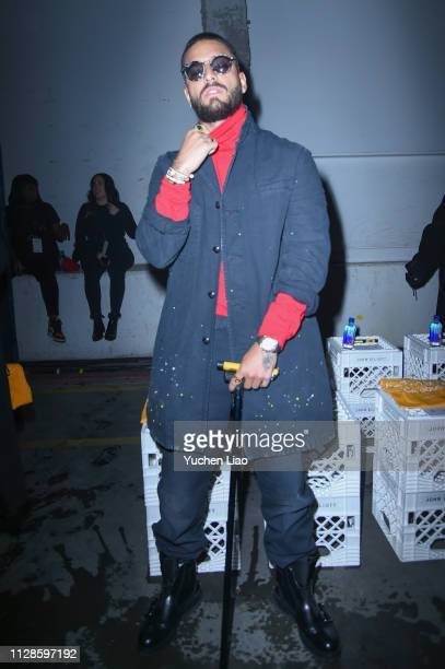 Maluma attends John Elliott in Front Row at February 2019 - New York Fashion Week: The Shows on February 09, 2019 in New York City.
