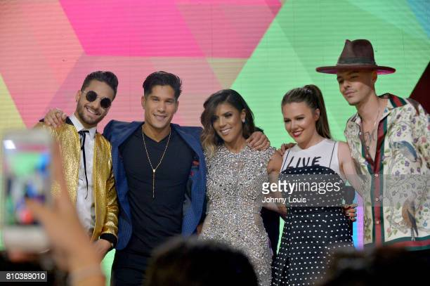 Maluma Chino Francisca Lachapel Joy Uecke and Jesse Uecke attend the Univision's 'Premios Juventud' 2017 Celebrates The Hottest Musical Artists And...