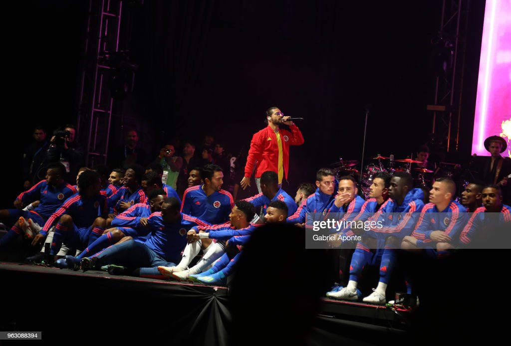 Maluma, Colombian singer, performs during a training session open to the public as part of the preparation for FIFA World Cup Russia 2018 on May 25, 2018 in Bogota, Colombia.