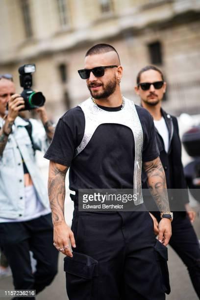 Maluma is seen, outside Vuitton, during Paris Fashion Week - Menswear Spring/Summer 2020, on June 20, 2019 in Paris, France.