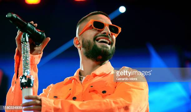 Maluma performs at Amway Center on October 10, 2019 in Orlando, Florida.
