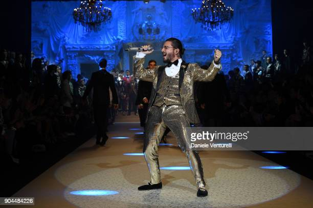 Maluma performs at Dolce Gabbana show during Milan Men's Fashion Week Fall/Winter 2018/19 on January 13 2018 in Milan Italy