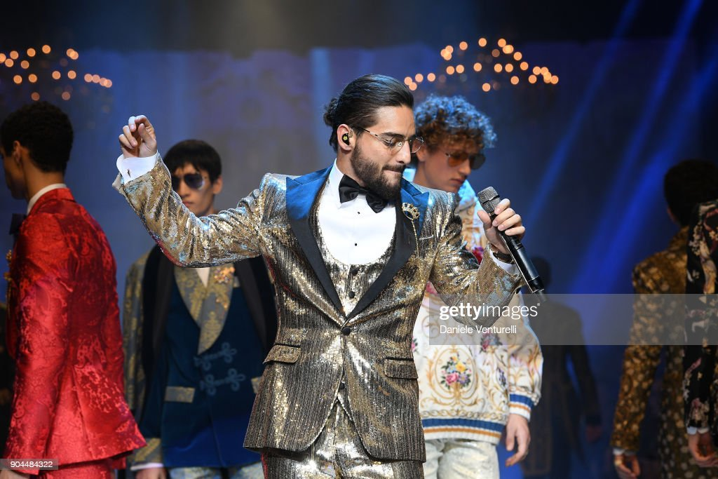 Maluma performs at Dolce & Gabbana show during Milan Men's Fashion Week Fall/Winter 2018/19 on January 13, 2018 in Milan, Italy.