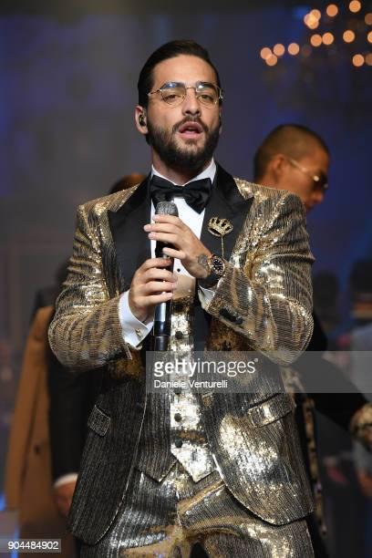 Maluma performs at Dolce Gabbana show during Milan Men's Fashion Week Fall/Winter 2018/19 on January 13 2018 in Milan Italy