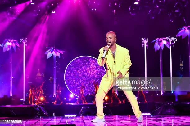 Maluma performs during the 2020 MTV Video Music Awards at the Skyline Drive-In, broadcast on Sunday, August 30, 2020 in New York City.