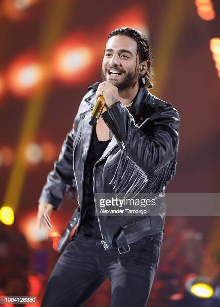 Maluma performs on stage at Univision's Premios Juventud 2018 at Watsco Center on July 22 2018 in Coral Gables Florida