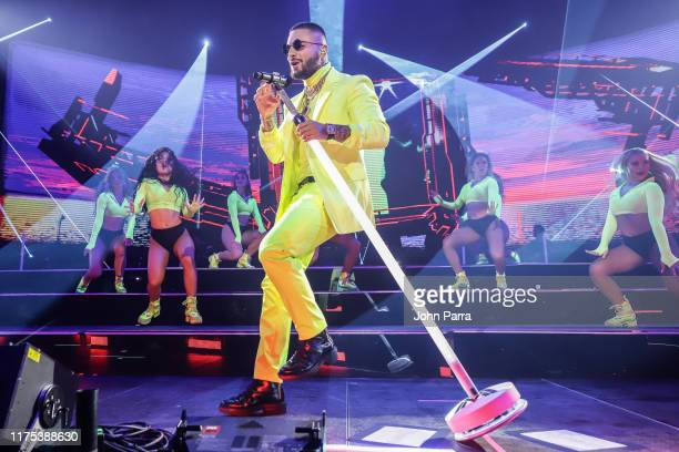 Maluma performs on stage during his 11:11 World Tour at AmericanAirlines Arena on October 11, 2019 in Miami, Florida.