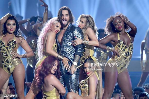 Maluma performs onstage during the 2018 MTV Video Music Awards at Radio City Music Hall on August 20 2018 in New York City