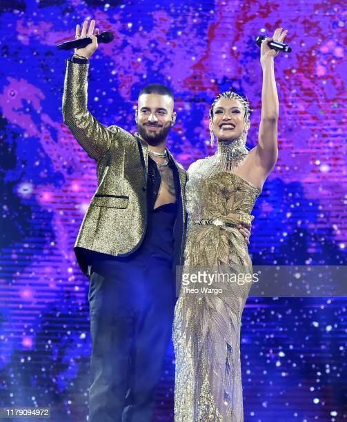 Maluma performs with special guest Jennifer Lopez at Madison Square Garden on October 04 2019 in New York City