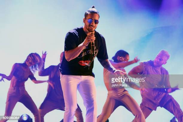 Maluma rehearses on stage during Univision's 'Premios Juventud' 2017 Celebrates The Hottest Musical Artists And Young Latinos ChangeMakers Day 3...
