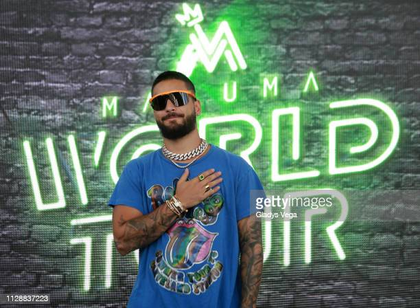 Maluma speak to media as part of press conference at Coliseo Jose M. Agrelot on March 6, 2019 in San Juan, Puerto Rico.