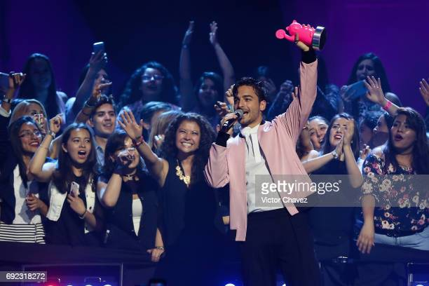 Maluma speaks on stage during the MTV MIAW Awards 2017 at Palacio de Los Deportes on June 3 2017 in Mexico City Mexico
