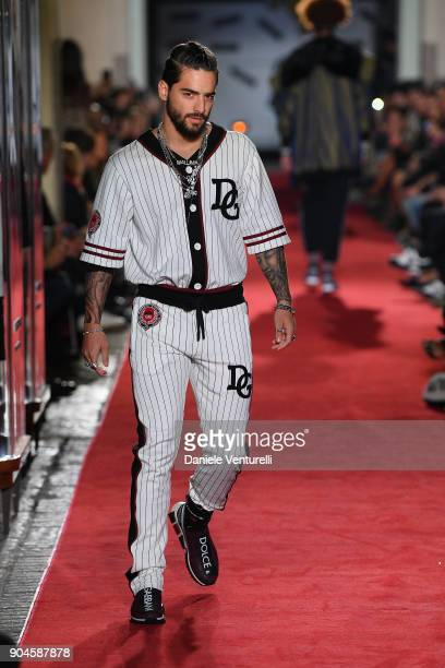 Maluma walks the runway at the Dolce Gabbana Unexpected Show during Milan Men's Fashion Week Fall/Winter 2018/19 on January 13 2018 in Milan Italy
