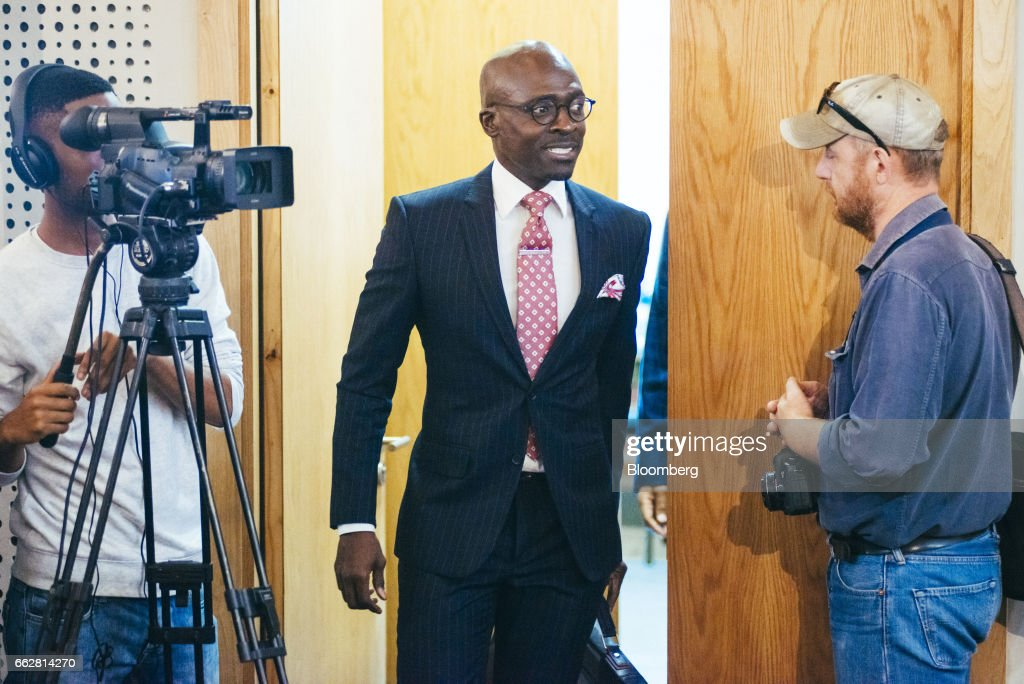 Malusi Gigaba, South Africa's finance minister, arrives for a news conference in Pretoria, South Africa, on Saturday, April 1, 2017. Gigabasaid he will use the National Treasury to push for inclusive economic growthwhile sticking within spending frameworks already put in place. Photographer: Waldo Swiegers/Bloomberg via Getty Images
