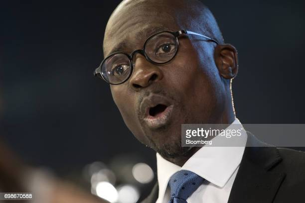 Malusi Gigaba South Africa's finance minister speaks during a Bloomberg Television interview in London UK on Tuesday June 20 2017 Business confidence...