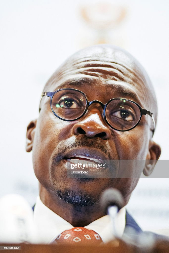 Malusi Gigaba, South Africa's finance minister, speaks during a news conference in Pretoria, South Africa, on Saturday, April 1, 2017. Gigabasaid he will use the National Treasury to push for inclusive economic growthwhile sticking within spending frameworks already put in place. Photographer: Waldo Swiegers/Bloomberg via Getty Images