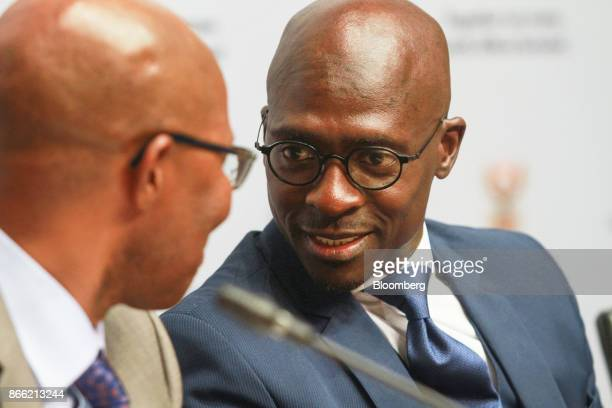 Malusi Gigaba South Africa's finance minister speaks during a news conference before he presents his midterm budget to parliament in Cape Town South...