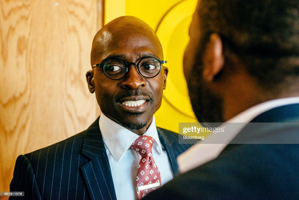 Malusi Gigaba, South Africa's finance minister, speaks to an attendee as he leaves a news conference in Pretoria, South Africa, on Saturday, April 1, 2017. Gigabasaid he will use the National Treasury to push for inclusive economic growthwhile sticking within spending frameworks already put in place. Photographer: Waldo Swiegers/Bloomberg via Getty Images