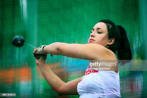 Malwina Kopron of Poland competes in Hammer Throw qualification on day two of the European Athletics U23 Championships at Kadriorg Stadium on July 9,...