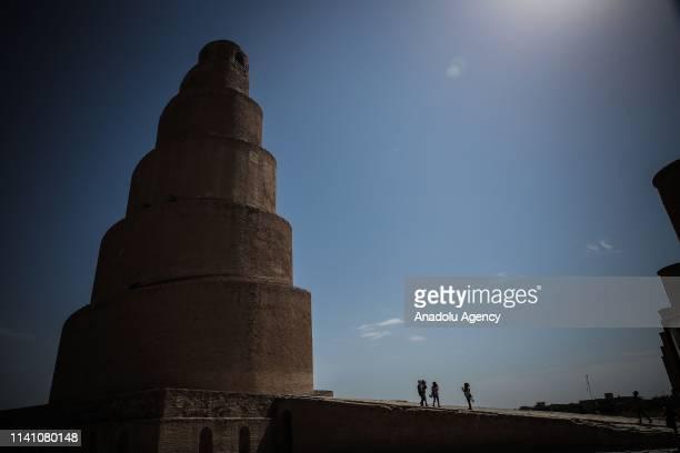 Malwiya minaret of the Great mosque of Samarra is seen on May 4, 2019 in Iraq's Samarra. 9th century Abbasid mosque's Malwiya minaret that its...
