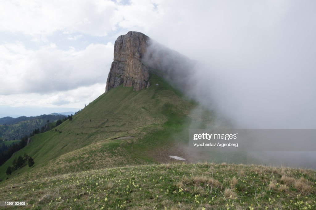Maly Tkhach in fog, Adygea, Caucasus Mountains : Stock Photo