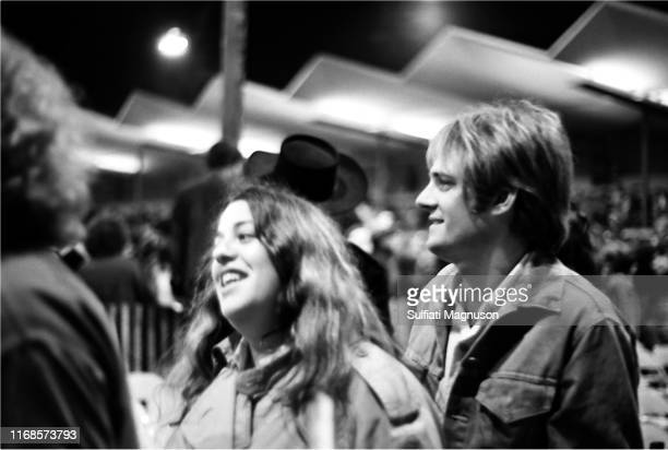 Mama Cass Elliot and special friend Lee mingling with friends the first night of The Monterey International Pop Festival in the intimate setting of...