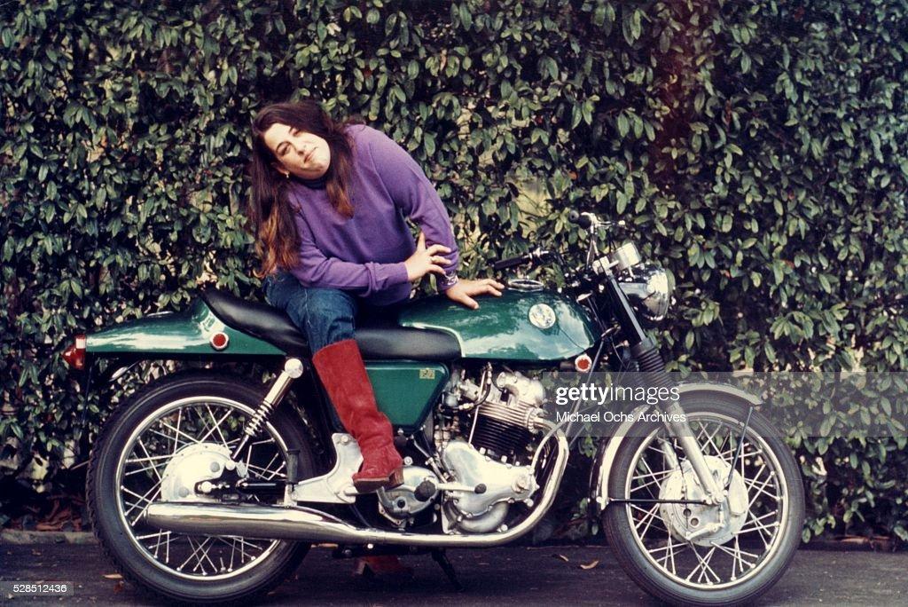 Mama Cass Elliot Portrait On A Motorcycle : News Photo