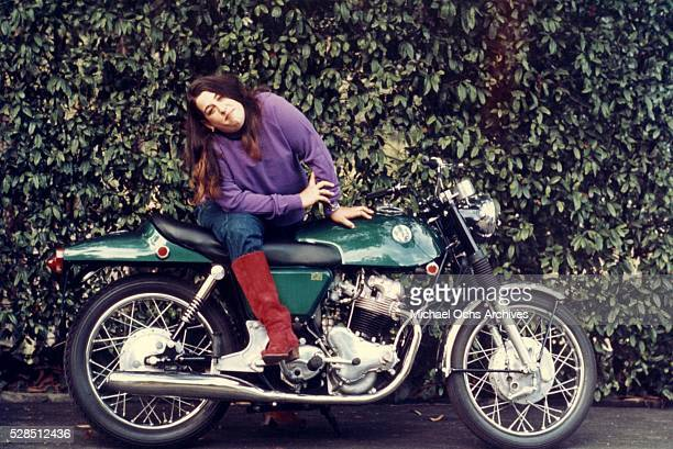 Mama Cass Elliot poses for a portrat on a motorcycle for her solo career in 1968 in Los Angeles