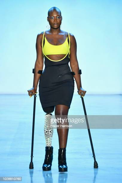 Mama Cax also known as Cacsmy Brutus walks the runway for Chromat during New York Fashion Week The Shows at Gallery I at Spring Studios on September...