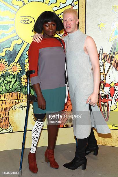 Mama Cax and model Shaun Ross attend the Alice Olivia by Stacey Bendet Spring/Summer 2017 Presentation during New York Fashion Week September 2016 at...
