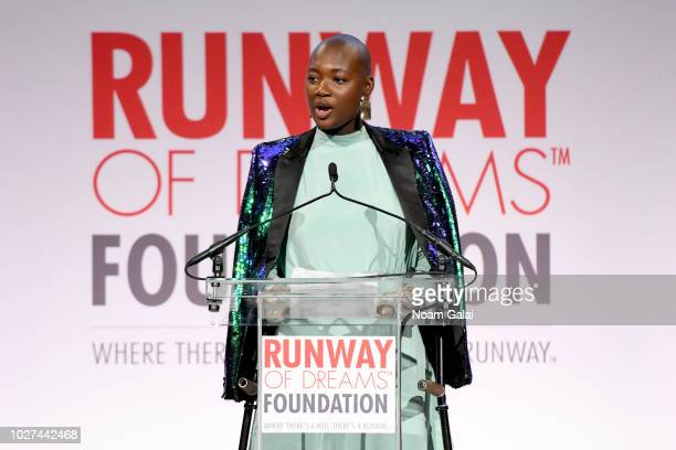 Mama Cax speaks onstage during the Runway Of Dreams Foundation Fashion Revolution Event at Cipriani 42nd Street on September 5 2018 in New York City