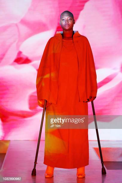 Mama Cax walks in Olay's Face Anything New York Fashion Week MakeUp Free Runway Show on September 13 2018 in New York City