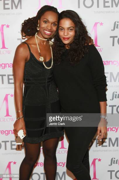 Mama Glow founder Latham Thomas and model Amber Tolliver attend the Mama Glow 3 year anniversary celebration at Dune Studio on January 21 2014 in New...