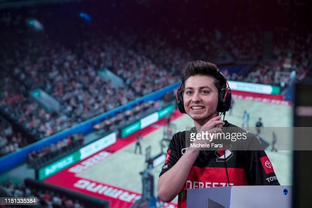 Mama Im Dat Man of Blazer5 Gaming reacts during the game against Jazz Gaming during Week 9 of the NBA 2K League regular season on June 21 2019 at the...