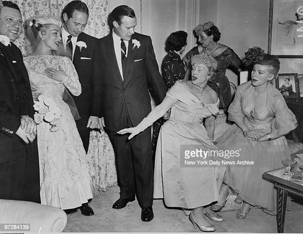 Mama Joli Gabor and her daughter Zsa Zsa look over new bride Eva Gabor after she was married to Dr John Williams