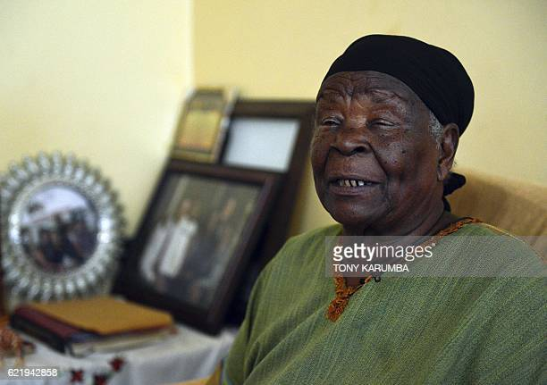 Mama Sarah Obama stepgrandmother of outgoing US President Barack Obama speaks during an interview at her home in the village of Nyang'oma in Kogelo...