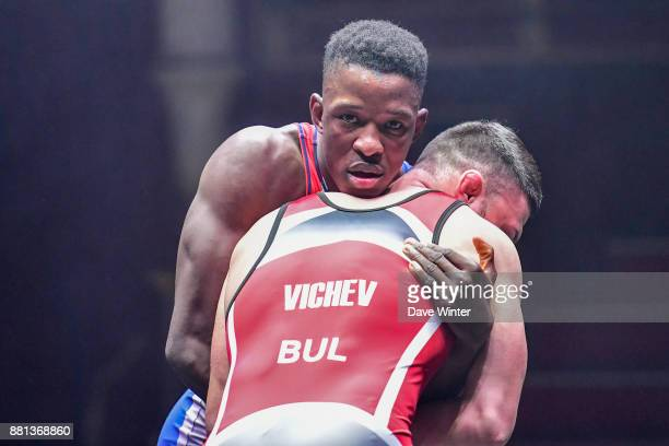 Mamadassa Sylla of France and Nikolai Vichev of Bulgaria during the International wrestling test match between France and Bulgaria at Le Cirque...