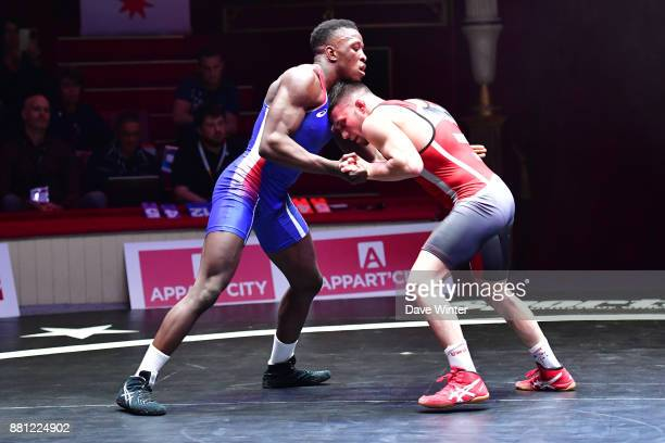 Mamadassa Sylla of France during the International wrestling test match between France and Bulgaria at Le Cirque d'Hiver on November 28 2017 in Paris...