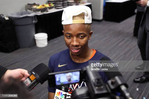 Mamadi Diakite of the Virginia Cavaliers is interviewed after his teams 8577 win over the Texas Tech Red Raiders in the 2019 NCAA men's Final Four...