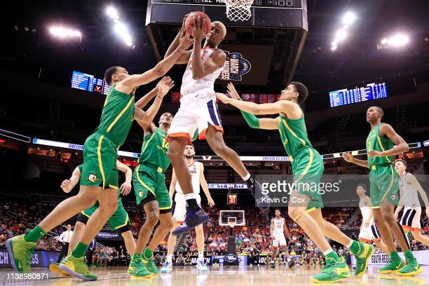 Mamadi Diakite of the Virginia Cavaliers rebounds the ball against the Oregon Ducks during the second half of the 2019 NCAA Men's Basketball...