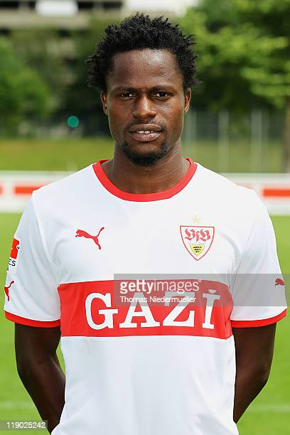 Mamadou Bah poses during the VfB Stuttgart team presentation at Stuttgart's training ground on July 14 2011 in Stuttgart Germany