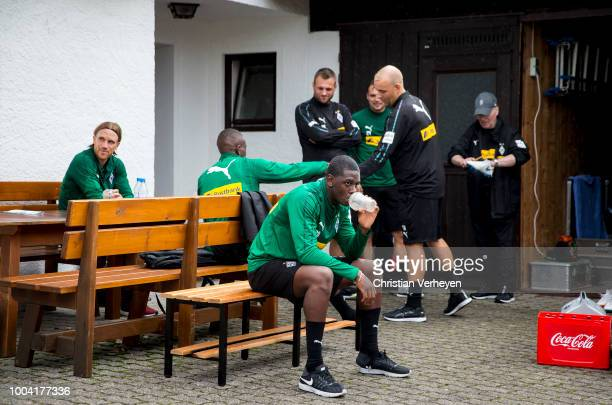 Mamadou Doucoure after a Training Session at Borussia Moenchengladbach Training Camp at Stadion am Birkenmoos on July 23, 2018 in Rottach-Egern,...