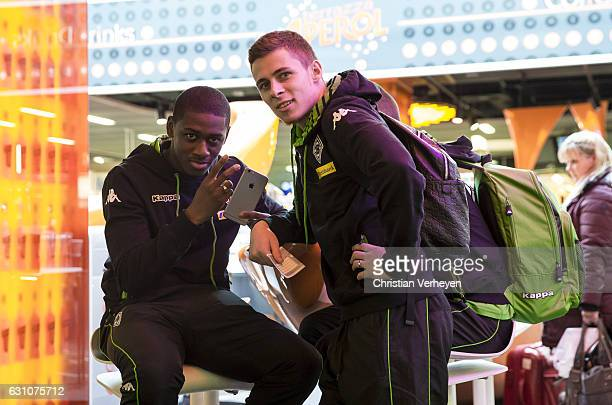 Mamadou Doucoure and Thorgan Hazard of Borussia Moenchengladbach departs to Marbella on January 06 2017 in Duesseldorf Germany